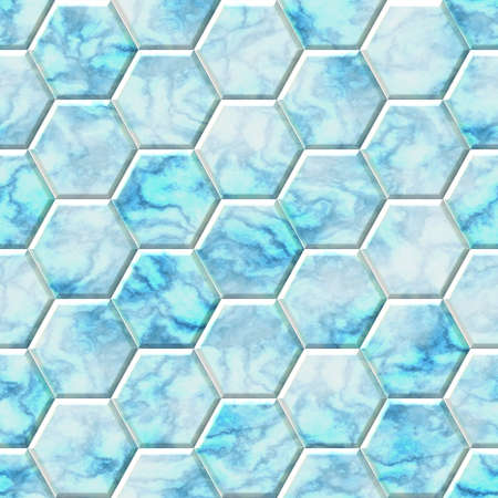 Blue and white marble hexagon seamless texture optimal use for background, floor, decorative stone and interior stone Stock Photo