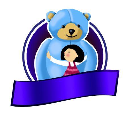Bear and girl- sign 版權商用圖片