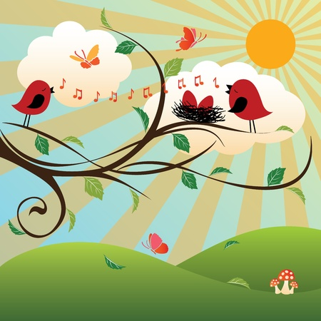 yellow hills: Summer   Four Seasons Series Illustration