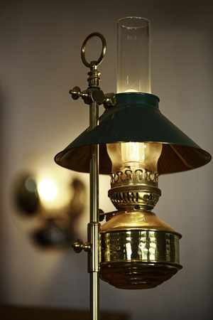 Antique electric lamp shade photo