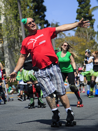 San Diego, CA, USA – March 16, 2013  Roller Skaters at St  Patrick s Day Parade and Festival on March 16, 2013 San Diego, CA  This event has become one of the largest single-day events in San Diego  Redakční