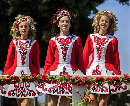San Diego, CA, USA – March 16, 2013  Dancing group at St  Patrick s Day Parade and Festival on March 16, 2013 San Diego, CA  This event has become one of the largest single-day events in San Diego