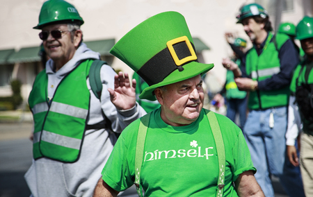 San Diego, CA, USA – March 16, 2013  Group of people dressing up at St  Patrick s Day Parade on March 16, 2013 San Diego, CA  This event has become one of the largest single-day events in San Diego