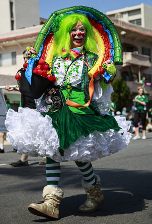San Diego, CA, USA – March 16, 2013  Woman in clown costume at St  Patrick s Day Parade on March 16, 2013 San Diego, CA  This event has become one of the largest single-day events in San Diego  Redakční