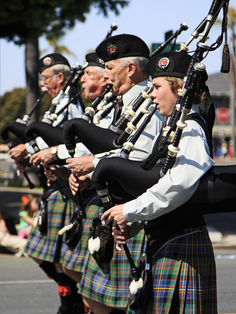 San Diego, CA, USA – March 16, 2013  Marching band at St  Patrick s Day Parade and Festival on March 16, 2013 San Diego, CA  This event has become one of the largest single-day events in San Diego