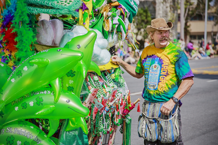 San Diego, CA, USA – March 16, 2013  Street vendor at St  Patrick s Day Parade and Festival on March 16, 2013 San Diego, CA  This event has become one of the largest single-day events in San Diego