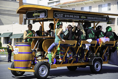 San Diego, CA, USA – March 16, 2013  Mobile bar float at St  Patrick s Day Parade on March 16, 2013 San Diego, CA  This event has become one of the largest single-day events in San Diego