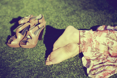 Girls feet close-up portrait