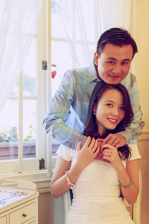 Portrait of happy young couple being indoor
