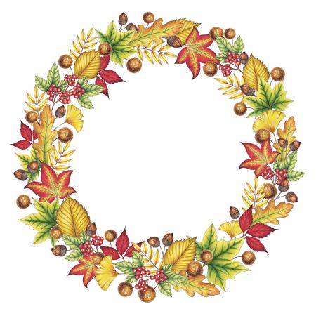 Autumn Leaves Wreath Illustration Reklamní fotografie