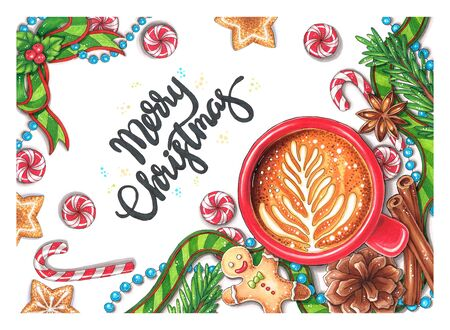 Hand-drawn Christmas Decorations with text