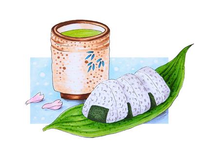 Hand Drawn Japanese Rice Balls and Green Tea Reklamní fotografie