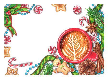 손으로 그린 크리스마스 장식 스톡 콘텐츠