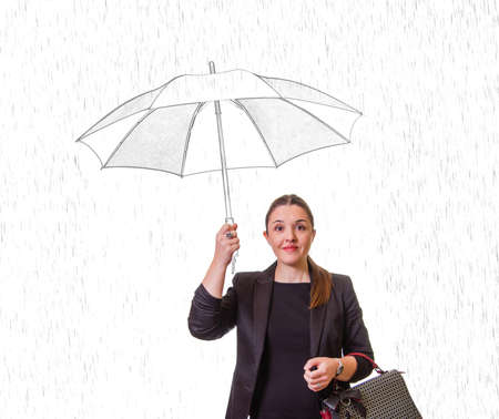 Portait of pretty smiling girl with drawing umbrella under the rain isolated on white background photo