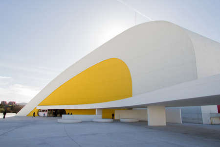 oscar niemeyer: View of Niemeyer Center building, in Aviles, Spain, on December 09, 2012  The cultural center was designed by Brazilian architect Oscar Niemeyer, and was his only work in Spain Editorial