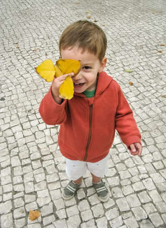 Cute smiling child boy cover his face with autumn leaf in a city park photo