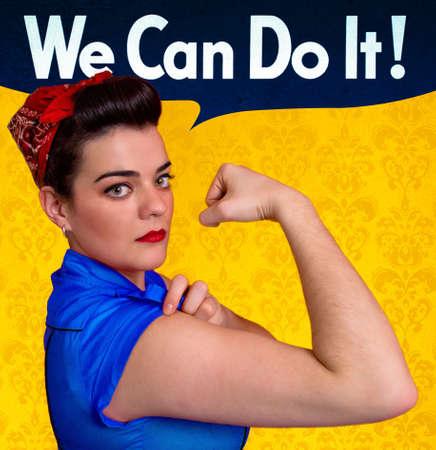 feministische: Mooie jonge vrouw die zich voordeed als werkend meisje