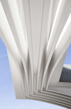 Arquitecture detail of conference and exhibition centre Ciudad de Oviedo in Asturias, Spain, on December 03, 2012. The modern center was designed by spanish architect Santiago Calatrava, and inagurated in May 2011