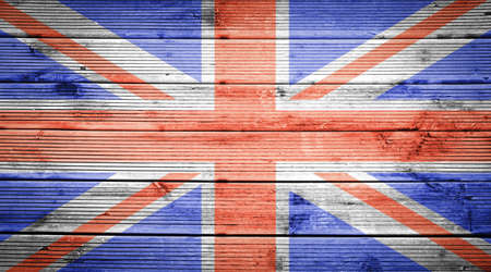 britain flag: Natural wood planks texture background with the colors of the flag of Great Britain Stock Photo