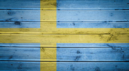 sweden flag: Natural wood planks texture background with the colors of the flag of Sweden