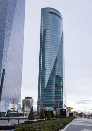 cuatro: MADRID, SPAIN - MARCH 10 Cuatro Torres Business Area  CTBA , in Madrid, Spain, on March 10, 2013  The Space Tower skyscraper, was designed by American architect Henry N  Cobb and inaugurated in 2007 Editorial
