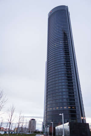 cuatro: MADRID, SPAIN - MARCH 10 Cuatro Torres Business Area  CTBA , in Madrid, Spain, on March 10, 2013  The PwC Tower skyscraper, has a offices plants and one five stars hotel, and was inaugurated in 2008