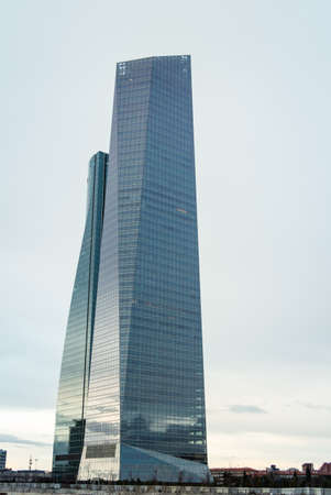 cuatro: MADRID, SPAIN - MARCH 10 Cuatro Torres Business Area  CTBA , in Madrid, Spain, on March 10, 2013  The Glass Tower skyscraper, was designed by architect Cesar Pelli and is the tallest building of Spain