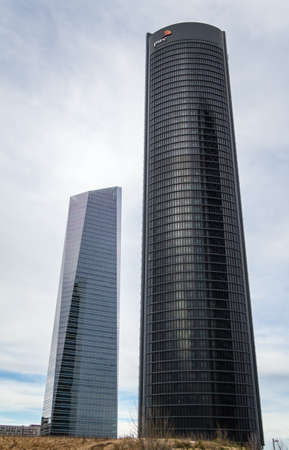 cuatro: MADRID, SPAIN - MARCH 10 Cuatro Torres Business Area (CTBA), in Madrid, Spain, on March 10, 2013. View of PwC Tower and Glass Tower skyscrapers