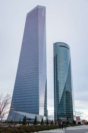 cuatro: MADRID, SPAIN - MARCH 10 Cuatro Torres Business Area (CTBA), in Madrid, Spain, on March 10, 2013. View of Glass Tower and Space Tower skyscrapers
