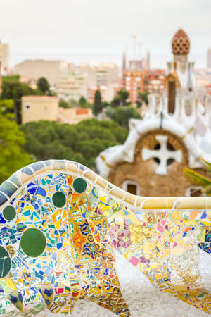 guell: Closeup of colorful ceramic mosaic in a bench of park Guell, designed by Antonio Gaudi, in Barcelona, Spain Stock Photo