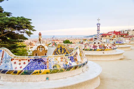 guell: View of colorful ceramic mosaic bench of park Guell, designed by Antonio Gaudi, in Barcelona, Spain Stock Photo