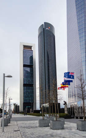 cuatro: MADRID, SPAIN - MARCH 10 Cuatro Torres Business Area  CTBA , in Madrid, Spain, on March 10, 2013  View of Bankia Tower and PwC Tower skyscrapers