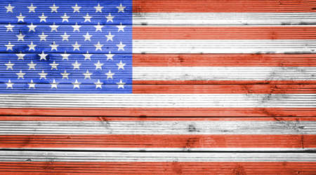Natural wood planks texture background with the colors of the flag of United States photo