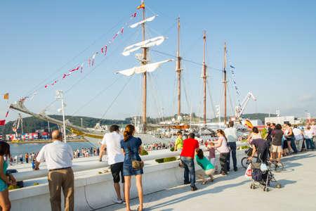 aviles: AVILES, SPAIN - JULY 09  Spanish Navy Ship Juan Sebastian Elcano, the training ship of spanish army, docked in the port beside of Niemeyer Cultural Center, on July 09, 2013, in Aviles, Spain Editorial