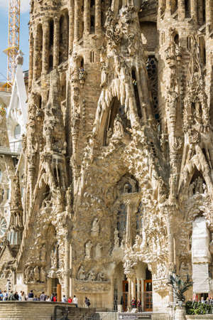initiated: BARCELONA, SPAIN - JUNE 01 Architecture detail of the Sagrada Familia cathedral, designed by Antoni Gaudi, in Barcelona, Spain, on June 01, 2013  It is a church with a modernist architecture, initiated in 1882, and still under construction