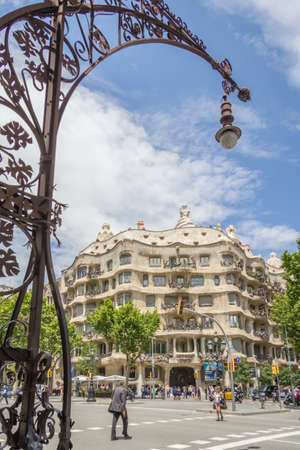 BARCELONA, SPAIN - MAY 31 View of the Casa Mila, better known as La Pedrera, designed by Antoni Gaudi, in Barcelona, Spain, on May 31, 2013 The building is the best exponent of modernist architecture Editorial