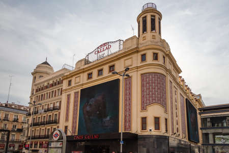 gran via: MADRID, SPAIN- SEPTEMBER 02 View of classics Callao cinemas in Gran Via street, in Madrid, Spain, on September 02, 2013 Editorial
