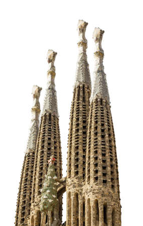 sagrada: The Sagrada Familia cathedral, designed by Antoni Gaudi, in Barcelona, Spain, isolated on white background