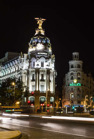 MADRID, SPAIN - SEPTEMBER 2  View of famous Metropolis building in Gran Via street at night, in Madrid, Spain, on September 2, 2013
