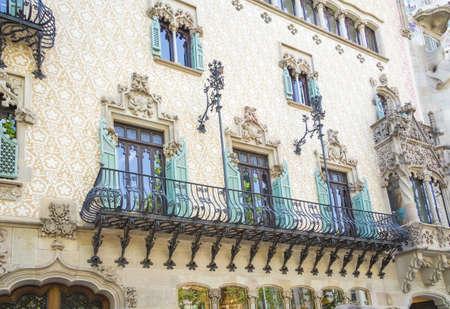 Modernist Casa Amatller facade, in Barcelona, Spain