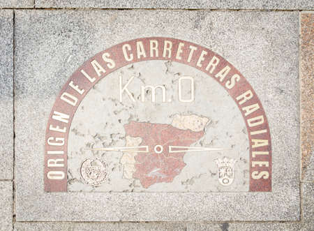 kilometer: Kilometer zero point sign on the street of Puerta del Sol, in Madrid, Spain Editorial