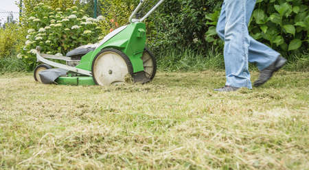 mow: Senior man mowing the lawn with a lawnmower machine Stock Photo
