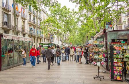 Flower stands in La Rambla street, in Barcelona
