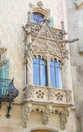Detail of modernist Casa Amatller facade, in Barcelona, Spain