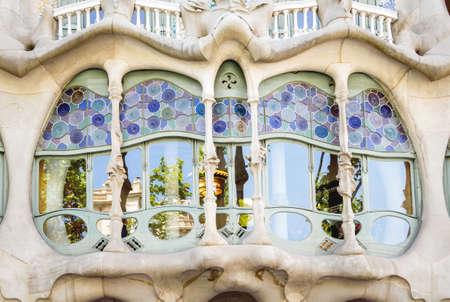 antonio: Detail of modernist Casa Batllo facade, designed by Antoni Gaudi, in Barcelona, Spain Editorial