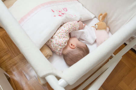 Portrait of cute baby girl sleeping in a cot with pacifier and stuffed toy photo