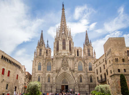 barcelona cathedral: Facade of Barcelona gothic catholic cathedral, at the old town heart, in Catalonia, Spain Stock Photo