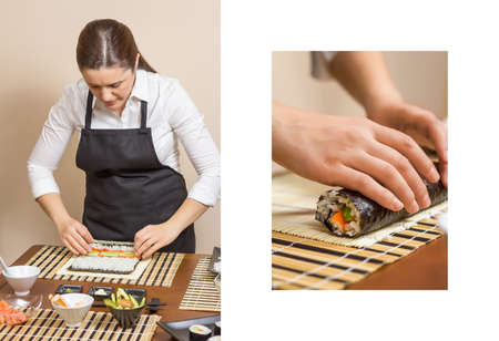 rolling up: Composition of woman chef rolling up a japanese sushi with rice and hand work detail