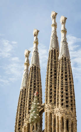 Architecture detail of the Sagrada Familia cathedral, designed by Antoni Gaudi, in Barcelona, Spain  It is a church with modernist architecture, initiated on 1882, and still under construction Editorial