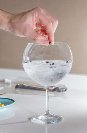 gin: Closeup of barman hand putting cardomom ball on a glass to prepare gin tonic cocktail